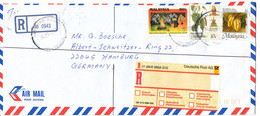 Malaysia Selangor Registered Air Mail Cover Sent To Germany 14-10-1997 - Malaysia (1964-...)