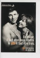 En Amour Il Faut être Deux Contre Le Sida Il Faut être Trois - Mairie De Paris Sida (cp Vierge) - Health