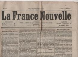 LA FRANCE NOUVELLE 17 08 1875 - ARCHEVEQUE DE PARIS - ESPAGNE - ELECTION SENATEURS - CHARLOTTE CORDAY - - 1850 - 1899