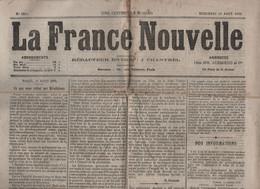 LA FRANCE NOUVELLE 18 08 1875 - REVOLUTION DE 1789 - ESPAGNE CARLISTE - HERZEGOVINE - PROSTITUTION - TRAMWAY SUD - FOUET - 1850 - 1899