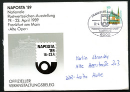 NAPOSTA Bund PU290 D2/012 Sost. Frankfurt 1989 - Philatelic Exhibitions