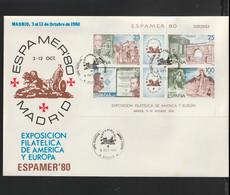 Spain FDC 1980 Espamer 80 Souvenir Sheet (large Cover) (LAR10-56) - Philatelic Exhibitions