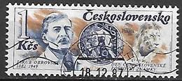 TCHECOSLOVAQUIE   -  1987.   Y&T N° 2749 Oblitéré.  Journée Du Timbre.  Jakub Obrovsky, Dessinateur. - Usados