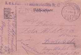 Feldpostkarte K.u.k. Fahrbare Autowerkstätte Nr. 42 - Nach Zwiesel - 1918 (56140) - Cartas