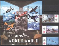 H732 LIBERIA MILITARY AVIATION U.S.AIRCRAFT OF WORLD WAR II WWII 1KB+1SET MNH - WW2