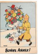 TINTIN - Carte Neige - Bonne Année ! (timbre à L'arrière) - Hergé