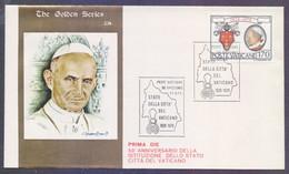 VATICAN 1979 FDC - 50th Anniversary Of State Citta Del Vaticano, Popes Portrait, 23K Gold Foil Embossed Special Cover, W - FDC