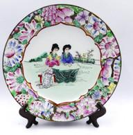 Assiettes En Porcelaine  Famille Rose A Decors De Personnages Et De Fleurs Chine - Art Asiatique