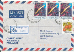 Malaysia Registered Air Mail Cover Sent To Germany Jlan Bagan Luar 2-9-1997 - Malaysia (1964-...)