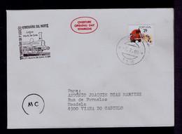 "PORTUGAL Lisboa Town To Vila Nova De Gaia ""125th Anni. South - North By Railway"" Trains  Pmk 1989 Mailed Gc5654 - Treni"