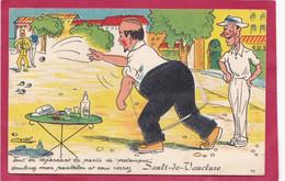 VAUCLUSE 84 SAULT DE VAUCLUSE  CARTE A SYSTEME LE JOUEUR DE BOULES PETANQUE ILLUSTRATEUR CASTEL PASTIS - Altri Comuni