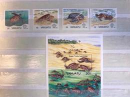 VANUATU 1992 4 V Plus 1 Bloc Neuf ** Mi 901 A 904 YT 899 A 902 Bl 19 Marine Turtle - Tartarughe