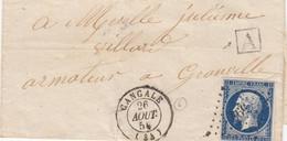 LETTRE.  26 AOUT 54. N° 14. CANCALE. ILLE & VILLAINE. PC 597. BOITE URBAINE A. POUR GRANVILLE - 1849-1876: Periodo Classico