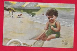 CARTOLINA VG ITALIA - Bimbo Sulla Spiaggia Che Aggiusta Reti Da Pesca - ILLUSTRATA MONESTIER - 9 X 14 - 1919 PIACENZA - Altre Illustrazioni
