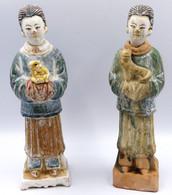 Lot De 2 Statuettes En Terre Cuite Representant Des Guerriers Ming - Art Asiatique