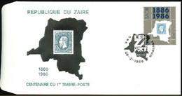 FDC (1306)  - ZAÏRE - Centenaire Du 1er Timbre / Eeuwfeest Van De Eerste Postzegel - Emission Commune/Gemeenschappelijke - Stamps On Stamps