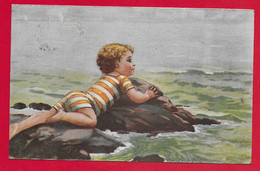 CARTOLINA VG ITALIA - Bimbo Sugli Scogli - ILLUSTRATA MONESTIER - 9 X 14 - 1919 PIACENZA - Monestier, C.