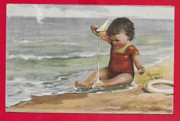 CARTOLINA VG ITALIA - Bimba Gioca Sulla Spiaggia - ILLUSTRATA MONESTIER - 9 X 14 - 1919 PIACENZA - Monestier, C.