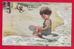CARTOLINA VG ITALIA - Bimba Gioca Sulla Spiaggia - Salvagente Ciambella - ILLUSTRATA MONESTIER - 9 X 14 - 1919 PIACENZA - Monestier, C.