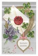 Gauffrée Violettes Trèfles Fer à Cheval  Souhaits Sincères - Non Classificati
