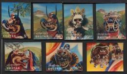 BHOUTAN BHUTAN 1976, MASQUES DE CEREMONIE, 7 Valeurs, Impression 3D, Neufs. RBh - Bhoutan