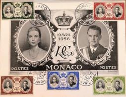 Monaco 1956, Poste, Grande Carte Postale Avec N° 473 à 477 - Gebraucht