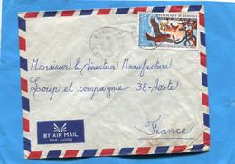 MarcophilieDahomey-Lettre >Françe-cad -Kouande -1974+stamps Thematic-N°378 Conte Aigle Vipère Et La Poule - Benin - Dahomey (1960-...)