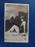 Old Vintage Postcard - French Edition - Sexy Nude - Nue - Femme -  Theme Pin'up - Beach - - Swimsuit - Pin-Ups