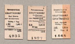 BRD - Pappfahrkarte (Reichsbahn) : 3 Karten Ab Kraftsdorf - Nach Bad Kröstritz / Großheringen  / Gera-Thieschitz - Europe
