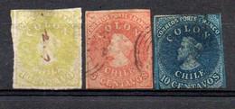 Chili 1861/67  Christophe Colomb   1c Jaune -olive; 5c Rouge; 10c Bleu - Cile