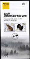 Croatia 2021 / Europa - Endangered Species, Eurasian Lynx, Western Capercaillie / Prospectus, Leaflet, Brochure - Croatia