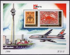 Rote Ecke Toronto CAPEX 1996 Mongolei Block 256b ** 11€ Stamp On Stamps CA #2 Hoja Bloc S/s Philatelic Sheet Bf Mongolia - Philatelic Exhibitions