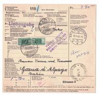EW294    Begleitadresse Menzingen - Garna (Belluno) Italien 1966 - Cartas