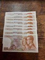 Lot De 8 Billets Belges - 50 Francs