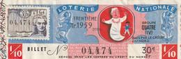 1029 - BILLET DE LOTERIE NATIONALE TRENTIEME  .1959 . EMLS PAR LE CREDIT DU NRD . TIMBRE RIESENER 30éme TRANCHE . SCANS - Lottery Tickets