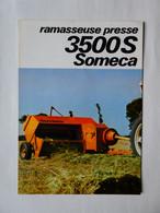 CS3 4 Pg Matériel Agricole FIAT SOMECA Presse 3500 S  Tracteur Tractor Trattori Traktor Publicité Brochure Publicitaire - Agriculture