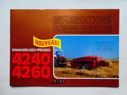 CS5 4 Pg Matériel Agricole FIAT SOMECA Presse 4240 60 Tracteur Tractor Trattori Traktor Publicité Brochure Publicitaire - Agriculture