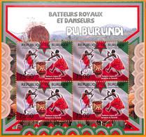 A5563 - BURUNDI - ERROR, 2012, MISPERF MINIATURE SHEET: Africa, Dance, Music, Flags - Music