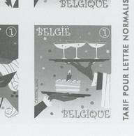 Feuillet épreuve En Noir Ministérielle Belgique Tirage 75 Ex.  CHAMPAGNE - Wines & Alcohols
