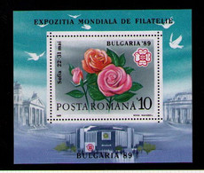 RUMANIA 1988 - EXPO FILATELICA BULGARIA '89 - FLORES - ROSAS - YVERT HB BF - 202** - Nuevos