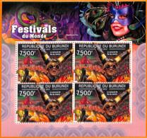 A5564 - BURUNDI - ERROR, 2012, MISPERF MINIATURE SHEET: Carnival Rio De Janeiro, Festivals - Music