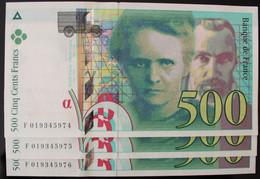France - 500 Francs - 1994 - PICK 160a.1 / F76.1 - Pr. NEUF (3 Billets) - 500 F 1994-2000 ''Pierre Et Marie Curie''