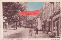23-VALLIERES (CREUSE)- GRANDE RUE-COMMERCES-CAMION-POMPE à ESSENCE-Ecrite- - Otros Municipios