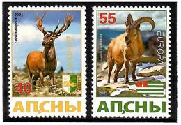 Georgia / Abkhazia . EUROPA 2021.  Endangered National Wildlife (Deers, Mountain Goats). 2v:40,55 - Georgia