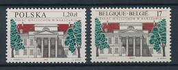 BELGIEN / BELGIQUE  - 1998 ,  Mniszech-Palast Warschau + Parallelausgabe Belgien   -  Michel  2834 + 3729  ** / MNH - Unused Stamps