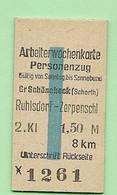 BRD - Pappfahrkarte (Reichsbahn) : Gr. Schönebeck Ruhlsdorf Zerpenchl ( Arbeiterwochenkar) - Europe