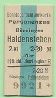 BRD - Pappfahrkarte (Reichsbahn) : Hörsingen - Haldensleben ( Sonntag ) - Europe