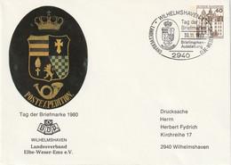 H 382) BRD 1980 Privat-Ganzsache BDP, SSt 2940 Wilhelmshaven 1, Tag Der Briefmarke - Stamp's Day