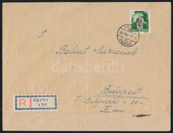 Abony 1945 Távolsági Ajánlott Levél Abonyról Budapestre, Hadvezérek 2P/1P Bérmentesítéssel, Kézzel írt Ajánlási Ragjeggy - Zonder Classificatie