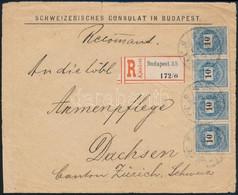 1898 10kr Négyescsík 11 1/2-es Fogazással (bélyegérték 60.000+++) 1899-ben Svájcba Küldött Ajánlott Levél Előlapján - Zonder Classificatie